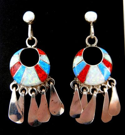 Zuni multi-colored lab opal and sterling silver inlay dangle earrings