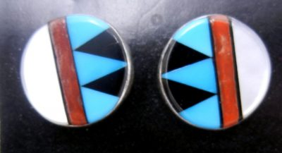 Zuni multi-stone inlay and sterling silver circular post earrings