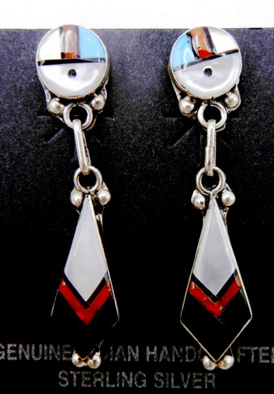 Zuni small multi-stone inlay and sterling silver sunface dangle earrings