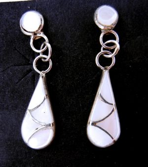Zuni white mother of pearl and sterling silver inlay dangle earrings by Orlinda Natewa