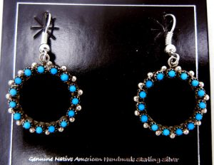 Zuni turquoise petit point and sterling silver circular dangle earrings