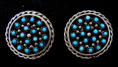 Zuni turquoise petit point and sterling silver circle earrings