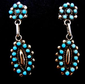 Zuni turquoise petit point and sterling silver dangle earrings