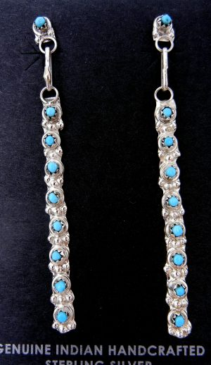 Zuni turquiose petit point and sterling silver dangle earrings
