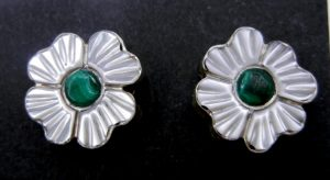 Zuni white mother of pearl and malachite inlay flower earrings