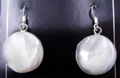 Santo Domingo white mother of pearl and sterling silver slab earrings by Veronica Tortalita