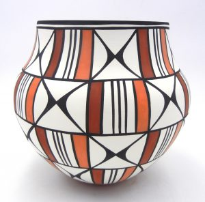 Acoma polychrome butterfly design jar by David Antonio
