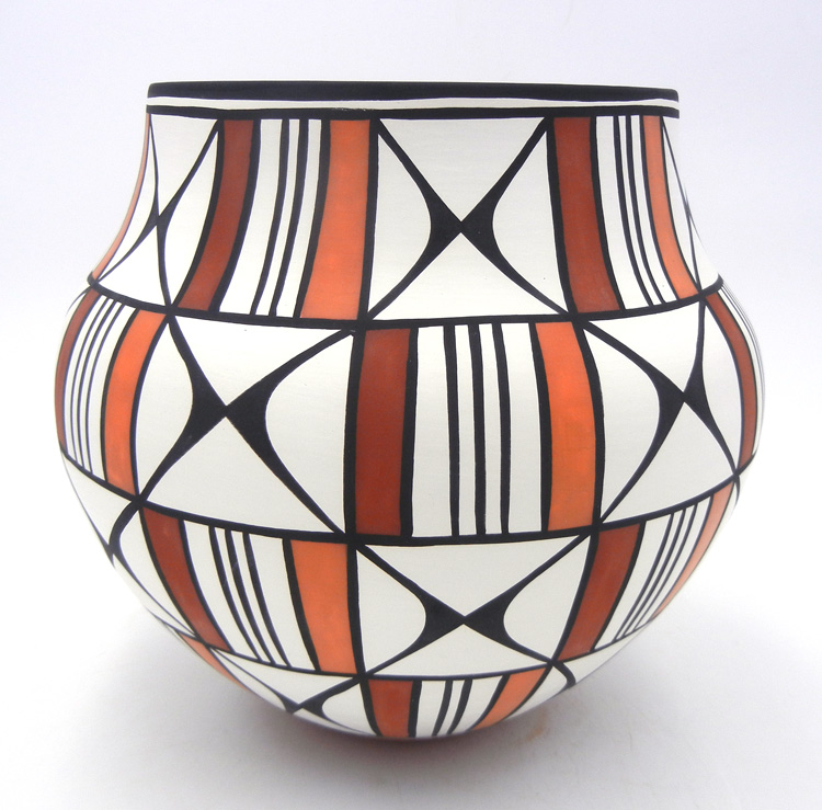 Acoma polychrome butterfly design jar by David Antonio