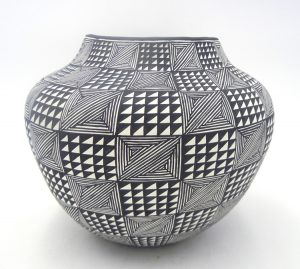 Acoma black and white handmade weather pattern jar by Sharon Stevens