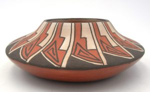 Jemez handmade and hand painted feather design squat bowl by Juanita Fragua