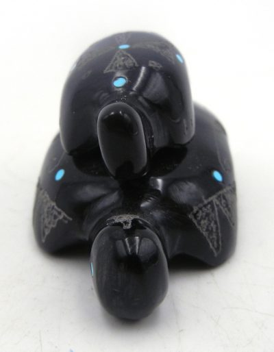 Zuni black marble piggyback turtles carved stone fetish by Roselle Gonzalez