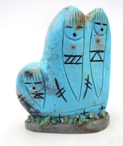 Zuni Kingman Turquoise triple corn maiden carved stone fetish