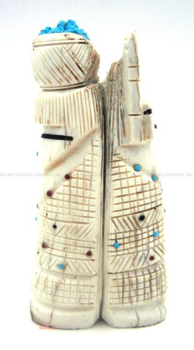 Zuni elk antler double corn maiden carved stone fetish