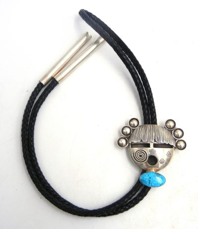 Navajo turquoise and sterling silver maiden bolo tie by Alex Sanchez
