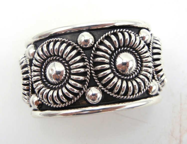 Navajo appliqued and domed sterling silver cuff bracelet by Thomas Charley