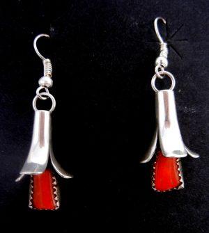 Navajo coral and sterling silver squash blossom earrings by Doris Smallcanyon