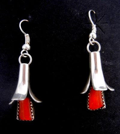 Navajo coral and sterling silver squash blossom earrings by Doris Smallcanyon