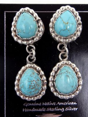 Navajo small double turquiose and sterling silver dangle earrings
