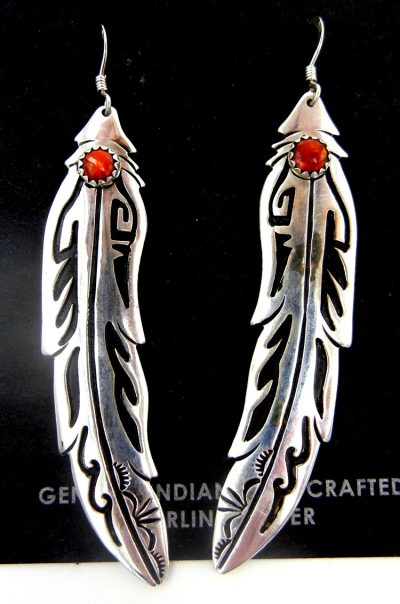 Navajo sterling silver overlay and coral feather dangle earrings by Rosita Singer