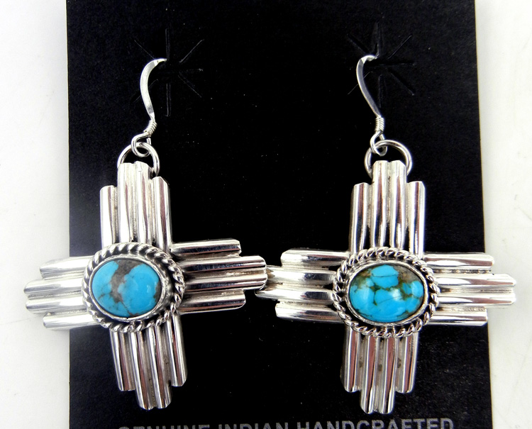 Navajo sterling silver and turquoise Zia symbol earrings by Robert Yellowhorse