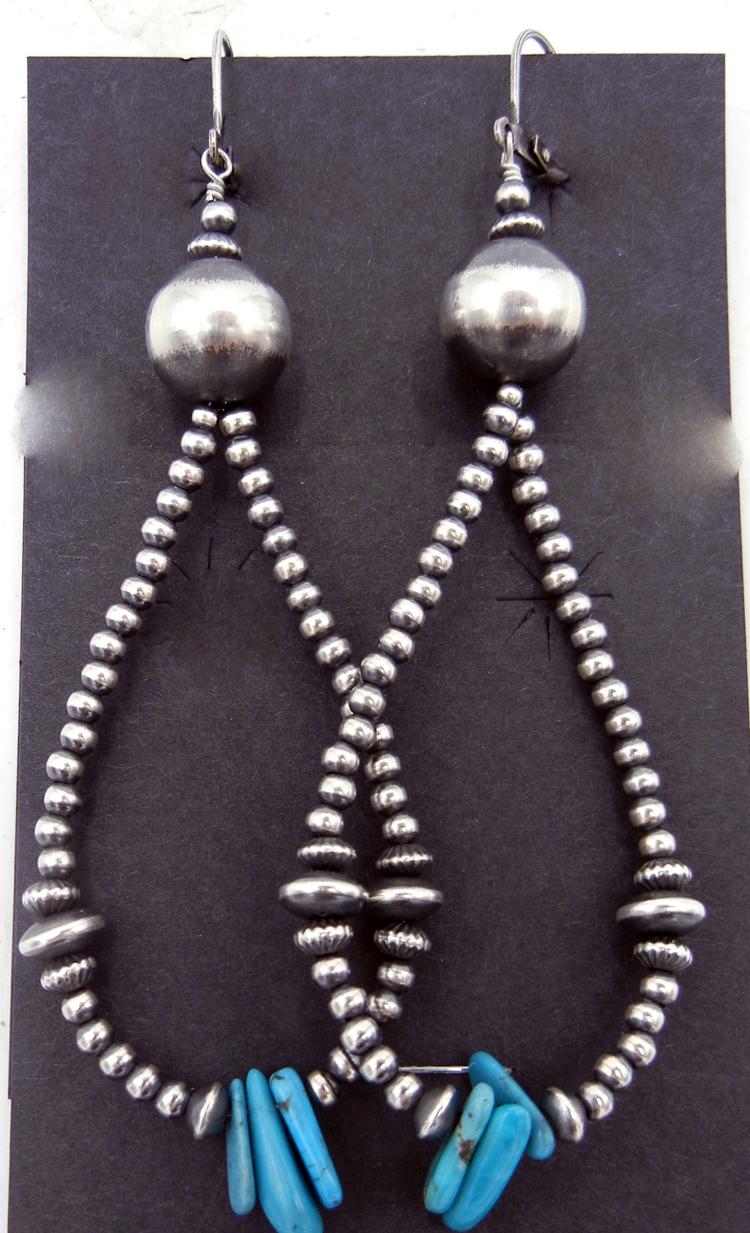 Navajo brushed sterling silver navajo pearl and turquoise loop dangle earrings