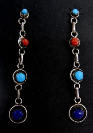 Navajo turquoise, coral, lapis, and sterling silver dangle earrings
