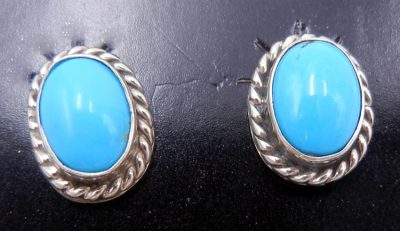 Navajo small turquoise and sterling silver post earrings