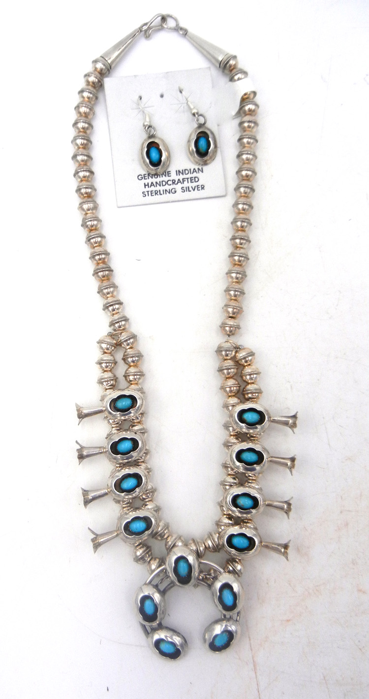 Navajo sterling silver and turquoise shadowbox style squash blossom necklace and earring set by Lenora Garcia