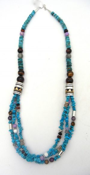 Navajo turquoise, multi-bead necklace with sterling silver and gold fill overlay cylinders by Rosita Singer