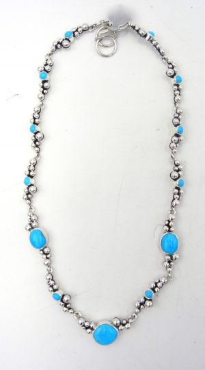 Navajo turquoise and applique sterling silver Million Dollar Drop Collection necklace