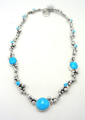Navajo turquoise and sterling silver applique Million Dollar Drop Collection necklace