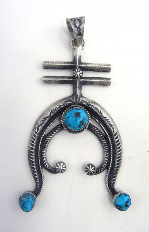 Navajo sandcast sterling silver and turquoise naja pendant by Kevin Billah