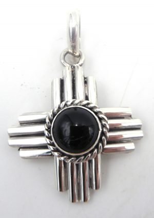 Navajo Robert Yellowhorse onyx and sterling silver Zia symbol pendant
