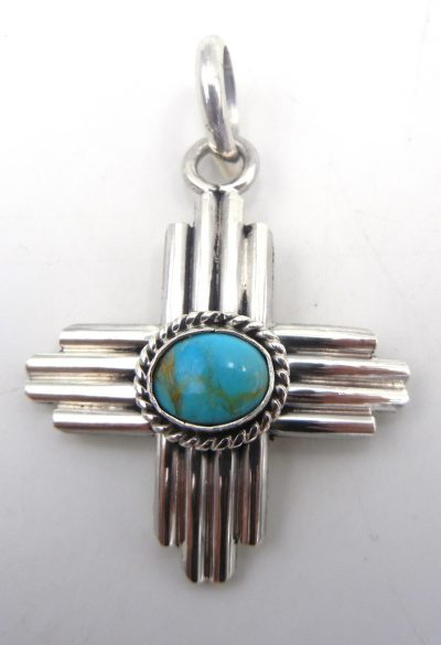 Navajo sterling silver and turquoise Zia symbol pendant by Robert Yellowhorse