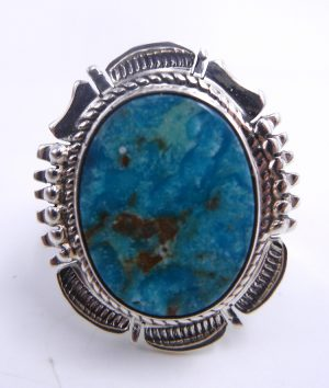 Navajo turquoise and sterling silver ring by Bennie Ration