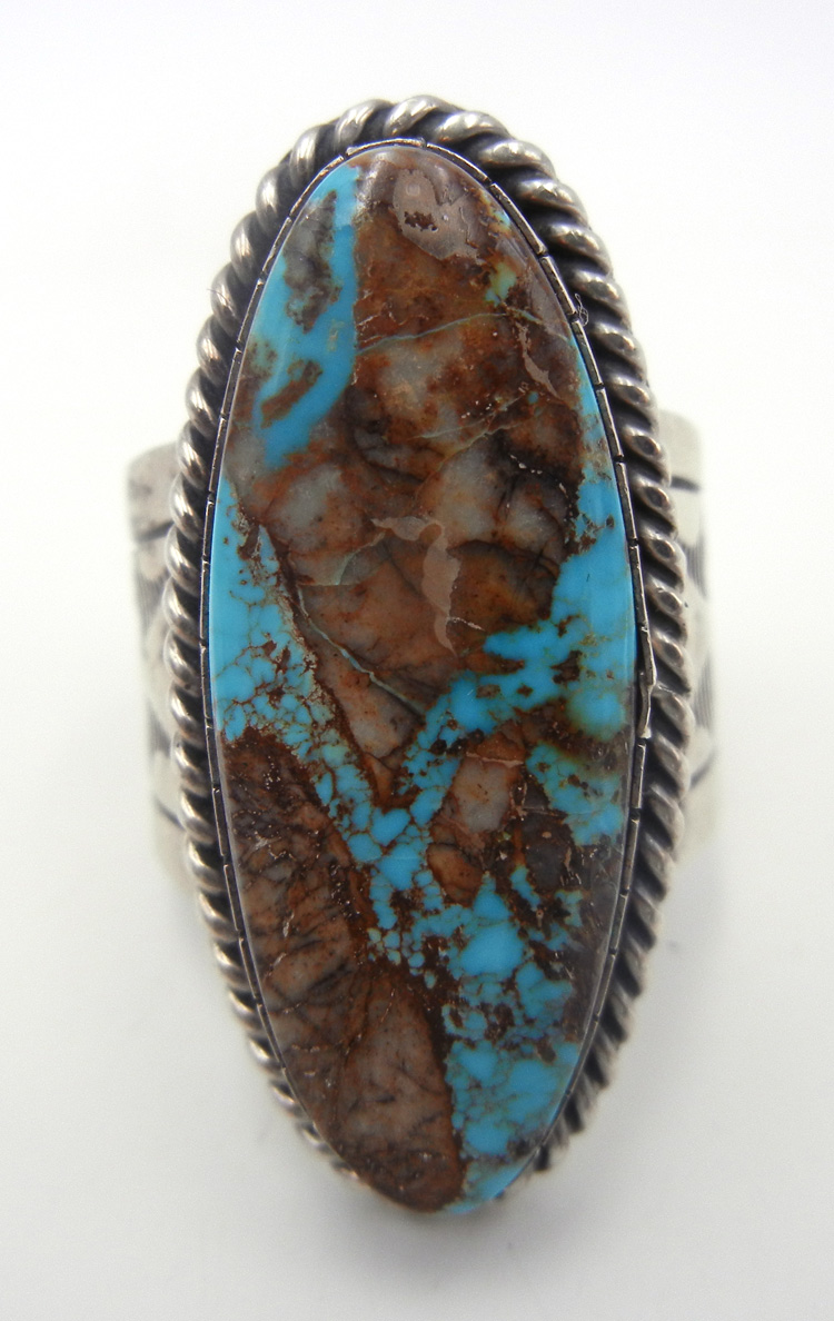 Navajo large turquoise and sterling silver ring