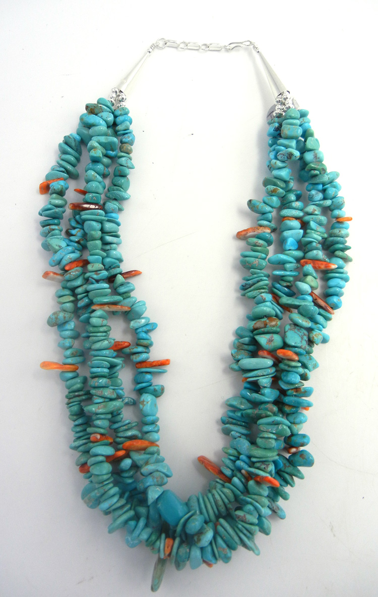 Santo Domingo four strand turquoise and orange spiny oyster necklace by Irene Lovato