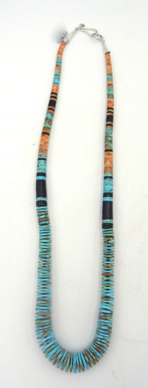 Santo Domingo turquoise, apple coral and jet heishi necklace by Ronald Chavez