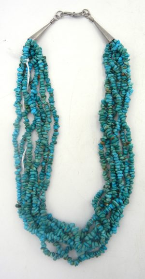 Santo Domingo seven strand Kingman turquoise heishi necklace circa 1970s
