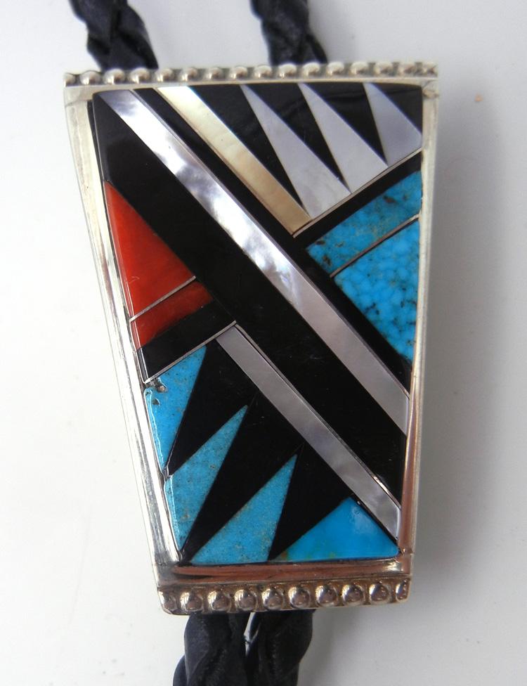 Zuni multi-stone inlay and sterling silver bolo tie