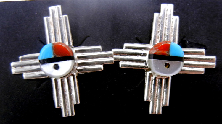 Zuni multi-stone inlay and sterling silver sunface zia symbol earrings