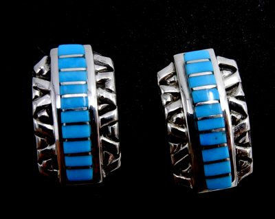 Zuni Sleeping Beauty turquoise and sterling silver channel inlay post earrings