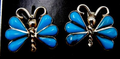 Zuni small turquoise and sterling silver inlay butterfly earrings