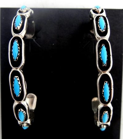 Zuni large Sleeping Beauty turquoise needlepoint and sterling silver hoop earrings