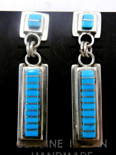 Zuni Sleeping Beauty turquoise and sterling silver channel inlay earrings