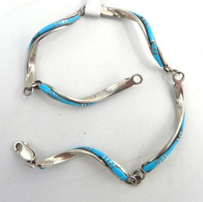 Zuni Sleeping Beauty turquoise and sterling silver inlay spiral link bracelet