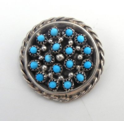 Zuni small Sleeping Beauty turquoise petit point and sterling silver pendant