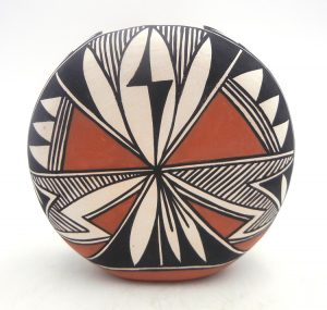 Acoma handmade and hand painted rounded vase by Loretta Garcia