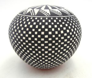 Acoma handmade and hand painted black and white seed pot by Loretta Garcia