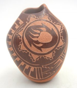 Jemez brown etched and polished small vase with bear paw and feather designs by Brenda Correa